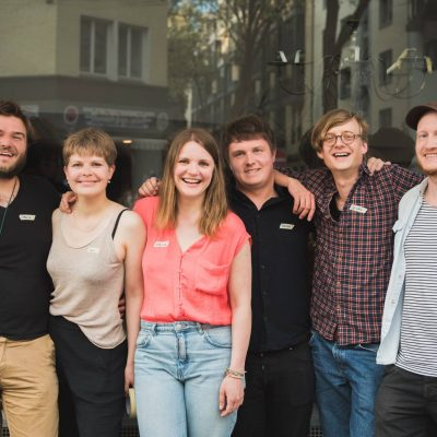 Auftakt Festival Team: Mario Frank, Sina-Marie Schneller, Melissa Moßmeier, Kevin Kader, Jascha Sommer, André Patten